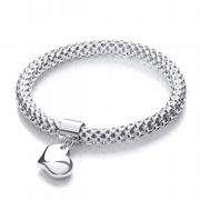 J-Jaz Rhodium plated Sterling silver flexible mesh bracelet with heart charm